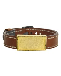 Todd Reed Gold Leather And Raw Diamond Buckle Bracelet