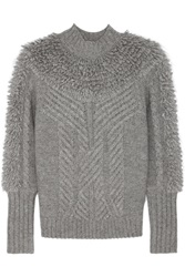 Temperley London Nell Cable Knit Wool Blend Turtleneck Sweater