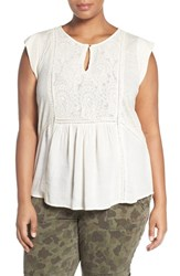 Lucky Brand Plus Size Women's Embroidered Cap Sleeve Mixed Media Top