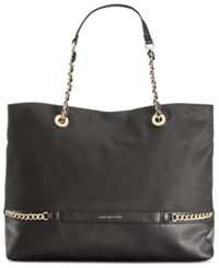 Tommy Hilfiger Cassidy Nylon And Faux Leather Chain Link Tote Black