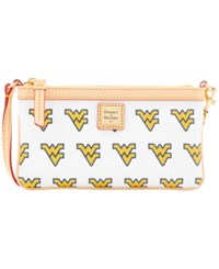 Dooney And Bourke West Virginia Mountaineers Large Wristlet White