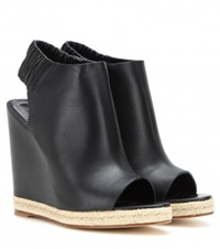 Balenciaga Leather Peep Toe Wedges Black