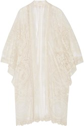 Anna Sui Crochet Trimmed Embroidered Tulle Kimono Jacket