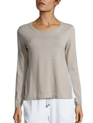 Peserico Tiered Cotton Sweater Beige White