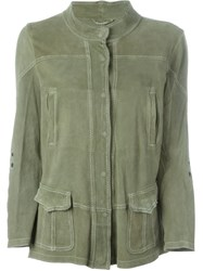Sylvie Schimmel Banded Collar Multi Pockets Jacket Green