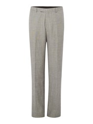 New And Lingwood Beckenham Linen Flat Front Trousers Grey