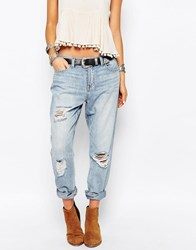 Only Lima Boyfriend Jeans With Distressing Blue