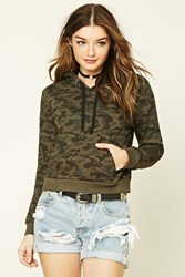 Forever 21 Camo Print Hoodie Olive Black