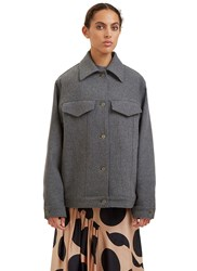 Stella Mccartney Oversized Felted Wool Jacket Grey