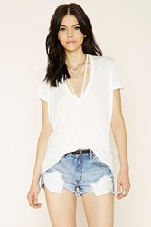 Forever 21 Strappy V Neck Oversized Tee