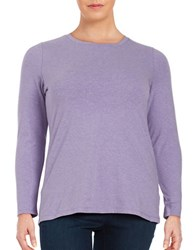 Lord And Taylor Plus Knit Crewneck Shirt Fressia Heather