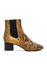 Isabel Marant Danae Printed Python Booties In Yellow Animal Yellow Animal