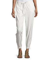 Max Studio Linen Blend Drawstring Jogger Pants White