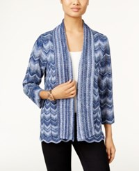 Alfred Dunner Sierra Madre Collection Striped Space Dyed Cardigan Navy