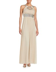 Betsy And Adam Cutout Front Chiffon Gown Blush