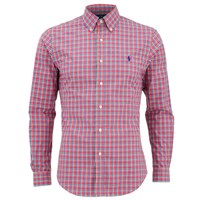 Polo Ralph Lauren Men's Slim Fit Checked Long Sleeve Shirt Cerise Blue Pink