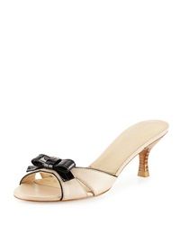 Stuart Weitzman Strapless Leather Bow Slide Pan