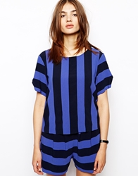 Bzr Bold Striped Tshirt In Crepe Blue