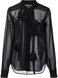 Black Comme Des Garcons Floral Embellished Semi Sheer Shirt Black