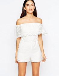 Lipsy Michelle Keegan Loves Bardot Lace Playsuit 001 White