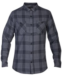 Hurley Men's Long Sleeve Landon Plaid Shirt Black