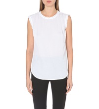 Reiss Minnie Ruffled Trim Sleeveless Top Off White