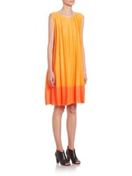 Issey Miyake Colorblock Shift Dress Orange