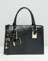Dune Structured Tote Bag With Metal Bar Detail Blk Black