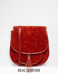 Asos Suede 70S Saddle Shoulder Bag Tan