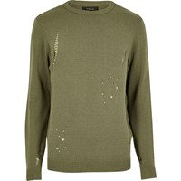 River Island Mens Dark Green Distressed Jumper