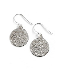 Lord And Taylor Sterling Silver Filigree Tree Drop Earrings