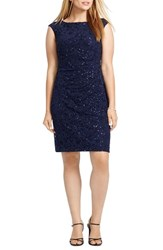 Plus Size Women's Lauren Ralph Lauren 'Twirling Sequin Novella' Cap Sleeve Party Dress Navy