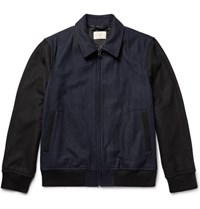 Club Monaco Two Tone Brushed Flannel Bomber Jacket Navy
