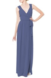 Ceremony By Joanna August Women's 'Newbury' Gathered Sleeve Chiffon Wrap Gown Bluemoon