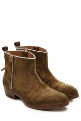 Golden Goose Suede Cowboy Boots Brown