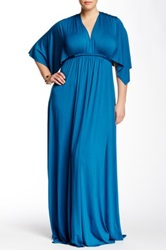 White Label By Rachel Pally Solid Long Kaftan Dress Plus Size Blue
