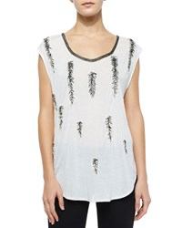 Haute Hippie Feather Embellished Dagger Tee Swan