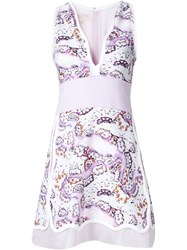 Giambattista Valli Floral Print Panel Scalloped Neck Dress White