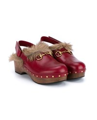 Gucci Amstel Kangaroo Fur And Leather Clogs Red Multi Coloured Red Brown