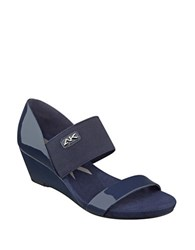 Anne Klein Cailina Two Band Wedge Sandals Navy Blue