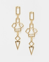 Designsix Cut Work Drop Earrings Gold