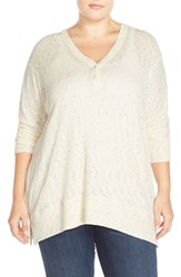 Plus Size Women's Sejour V Neck Dolman Sleeve Tee Ivory Ribbed Pattern