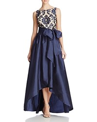 Adrianna Papell High Low Taffeta Gown Navy Nude