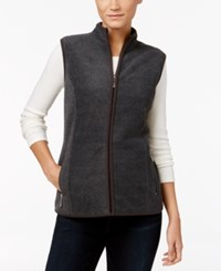 Karen Scott Fleece Zip Front Vest Only At Macy's Charcoal Heather