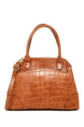 London Fog Reid Leather Dome Satchel Brown