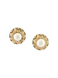 Chanel Vintage Pearl Rhinestone Clip On Earrings Metallic
