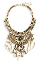 Junior Women's Leith Stone And Spoon Charm Statement Necklace Gold Burnished