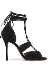Schutz Clove Lace Up Nubuck Sandals Black