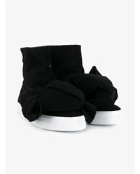 Joshua Sanders Bow Embellished Wool Felt High Top Sneakers Black White