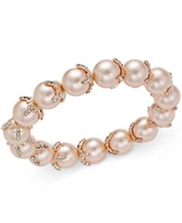 Charter Club Imitation Pearl And Crystal Stretch Bracelet Only At Macy's Rose